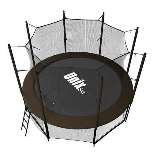 Батут UNIX line 8 ft Black&Brown с внутренней сеткой